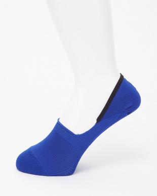 ブルー/ホワイト/ブラック ドライタッチ・足底かのこ編み シューズインソックス 3足組見る