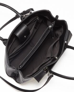 BLACK/BL  ショルダー付き配色ハンドバッグ見る