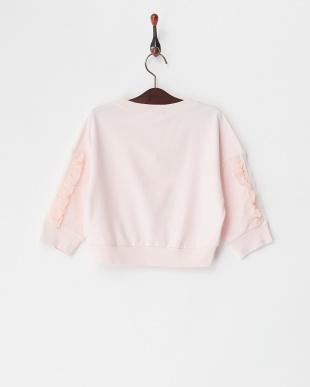 ピンク 袖チュール&フリルプルオーバー(8Y~)見る