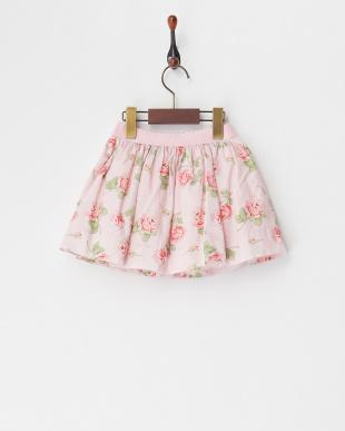 ピンク 花柄プリントスカート(24M~)見る