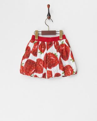 シロ イチゴ柄バルーンスカート(12M~)見る