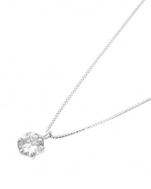 K18WG 天然ダイヤモンド 0.2ct 6本爪ネックレス見る