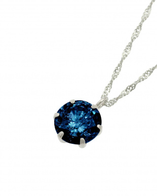 Pt 天然ダイヤモンド 大粒0.5ct ダークブルー 6本爪 プラチナネックレス見る