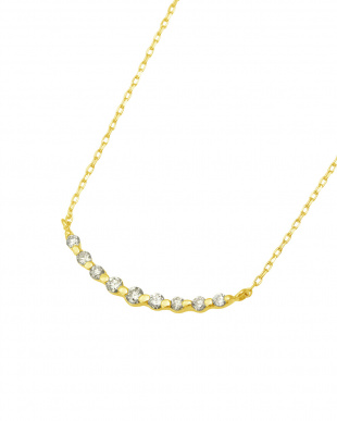 K18YG  天然ダイヤモンド 0.1ct ラインネックレス見る