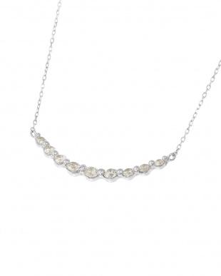 K18WG  天然ダイヤモンド 計0.3ct ライン ネックレス見る