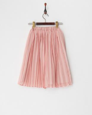 ライトピンク  シフォンプリーツロングスカート見る
