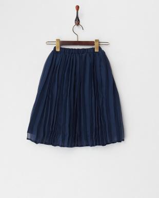 ネイビー  シフォンプリーツロングスカート見る