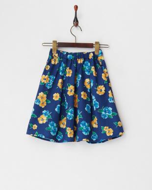 ネイビー  花柄スカート(140以上)見る