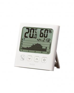 ホワイト グラフ付きデジタル温湿度計 TT-580見る