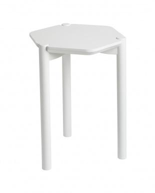 ホワイト  ヘクサ サイドテーブル見る