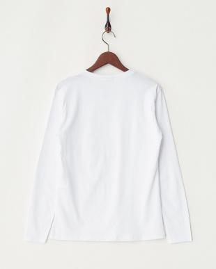 ホワイト  フロントエンボス長袖Tシャツ見る