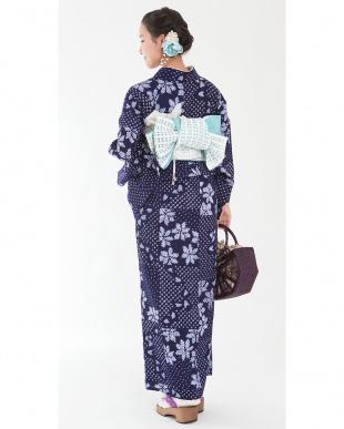ネイビー系 カノコ花C 有松鳴海絞り浴衣 プレタ見る