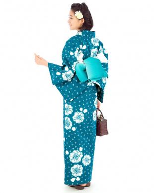 ブルー系 カノコ×花B 有松鳴海絞り浴衣 プレタ見る