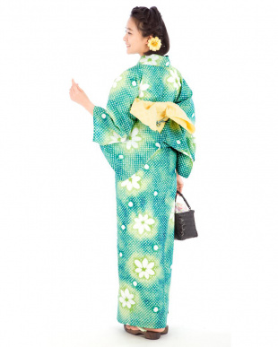 グリーン系 カノコ×ドット×花 有松鳴海絞り浴衣 プレタ見る