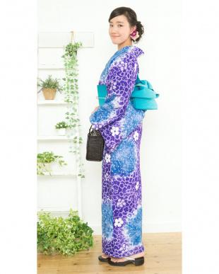 ブルー系 カノコ花B 有松鳴海絞り浴衣 プレタ見る
