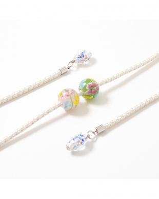 ホワイト/マルチ 花柄トンボ玉 飾り紐見る