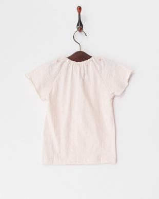 ピンク  衿刺繍Tシャツ見る