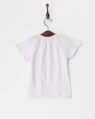 ラベンダー  衿刺繍Tシャツ見る