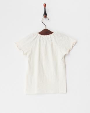 アイボリー  衿刺繍Tシャツ見る