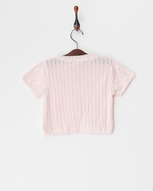 ピンク  綿横編半袖カーディガン見る