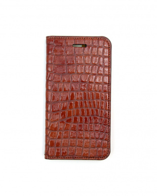 BROWN Foliocase Croco iPhone7用見る
