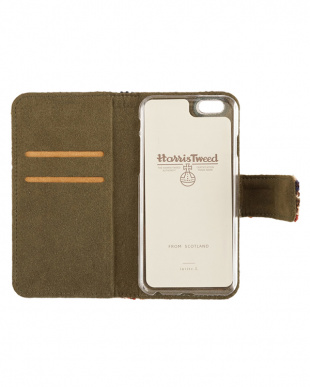 GREEN CHECK  Harris Tweed Foliocase iPhone 6 Plus/6s Plus用見る