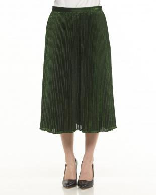 green ラメプリーツスカート見る
