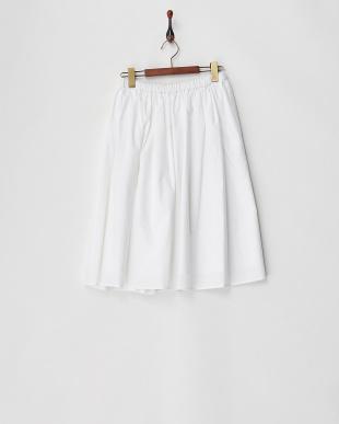 ホワイト ウエストギャザー ミモレ丈スカート見る
