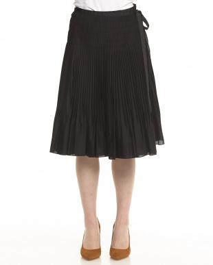 ブラック 綿混ローン プリーツ ラップスカート見る