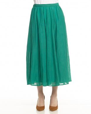 グリーン バンブーコットン ギャザーロングスカート見る