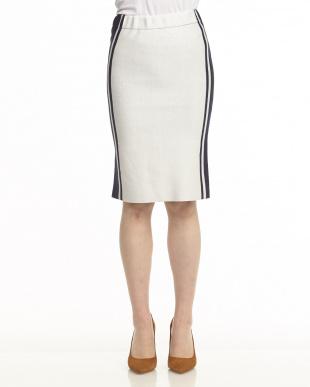ホワイト×ネイビー サイドライン配色 リバーシブルタイトニットスカート見る