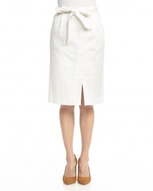 ホワイト  サッシュリボンタイトスカート見る