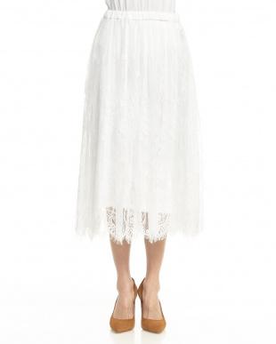 ホワイト フェミニンレーススカート見る