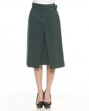 グリーン  ベルテッドラップ風スカート見る