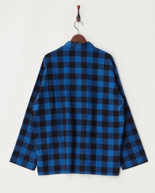blue  VAINL ARCHIVE 起毛ブロックチェックシャツ見る