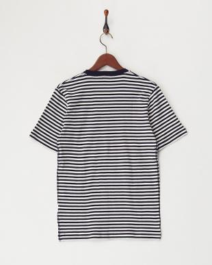 navy  Healthknit VネックボーダーTシャツ見る