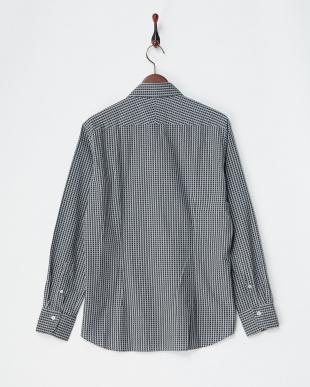 ブラウン/ネイビー ダンガリースクエアー柄プリントシャツ|MEN見る