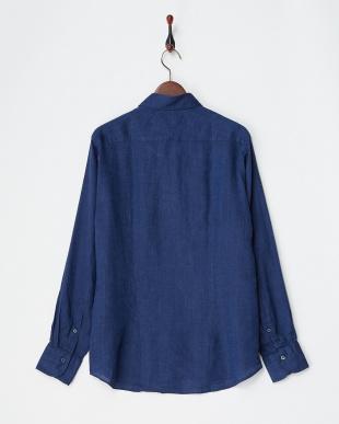 ディープブルー リネンデラベシャツ|MEN見る
