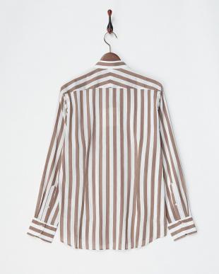 ブラウン/ホワイト  リネンコットンストライプバンドカラーシャツ見る