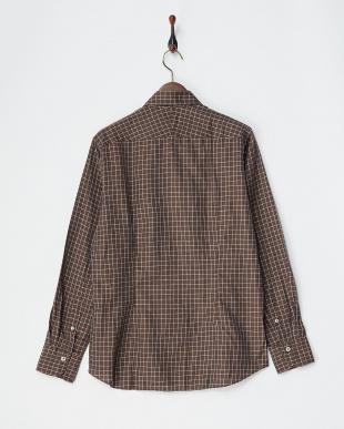 ブラウン コットンリネンタッタソールシャツ見る