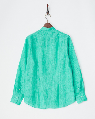 グリーン リネンバンドカラーシャツ|MEN見る