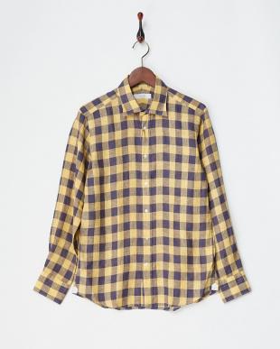 イエロー  リネンデラベチェックシャツ見る