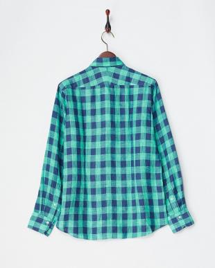 グリーン  リネンデラベチェックシャツ見る
