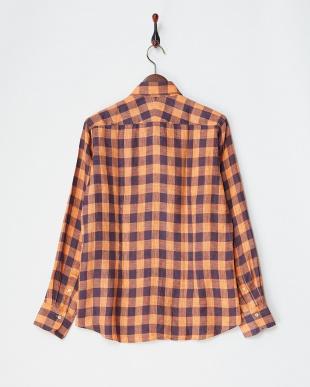 オレンジ  リネンデラベチェックシャツ見る