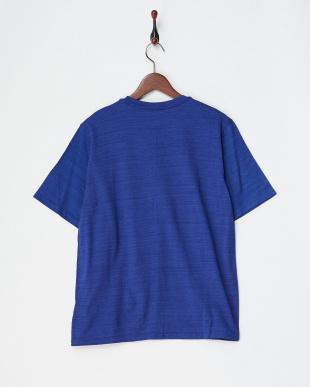 ブルー  コットンデラベ天竺Tシャツ見る