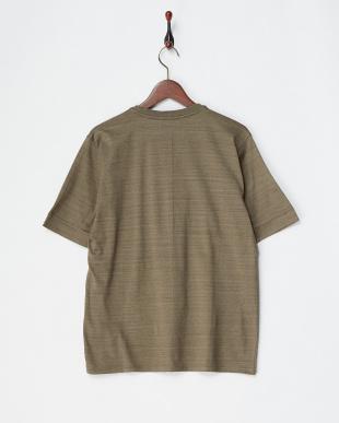 ライトブラウン コットンデラベ天竺ヘンリーネックTシャツ|MEN見る