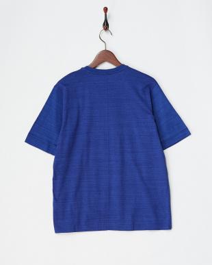 ブルー  コットンデラベ天竺ヘンリーネックTシャツ見る