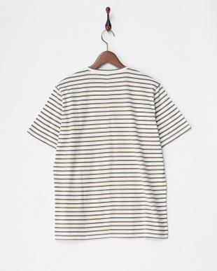 ライトブラウン/ホワイト コットンデラベ天竺ボーダーTシャツ|MEN見る