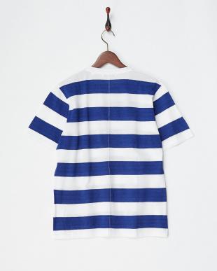 ブルー/ホワイト  鹿の子ボーダーTシャツ見る