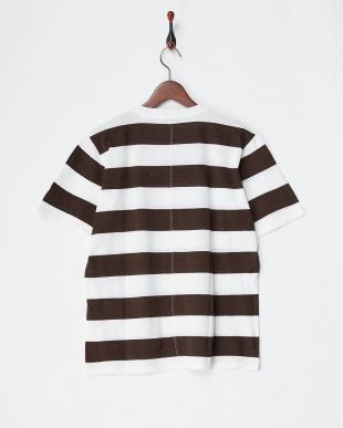 ブラウン/ホワイト 鹿の子ボーダーTシャツ|MEN見る